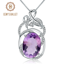 Gems Ballet 6.19Ct Natural Amethyst Gemstone Vintage Pendant Necklace Solid 925 Sterling Silver Fine Jewelry For Women
