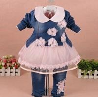0 2Y New 2015 Spring Autumn Girls Windcoat Clothing Set 3pcs Baby Girl Lace T Shirt