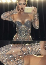 Sparkly Rhinestones Nude Long Dress Sexy Nightclub Full Stones Long Big Tail Dress Costume Prom Birthday Celebrate Dresses