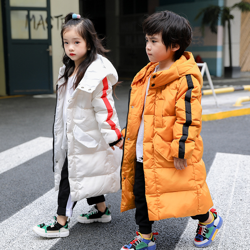 5-12T Girls Parka Winter Hooded Jacket Coat Children's Warm Clothing Girl Solid Long Cotton-padded Jackets Outerwear long section men s solid cotton padded wadded jacket fashion clothes trench coat hooded jackets casual outerwear slim parka 3xl