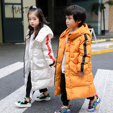 5-12T Girls Parka Winter Hooded Jacket Coat  Children's Warm Clothing Girl Solid Long Cotton-padded Jackets Outerwear
