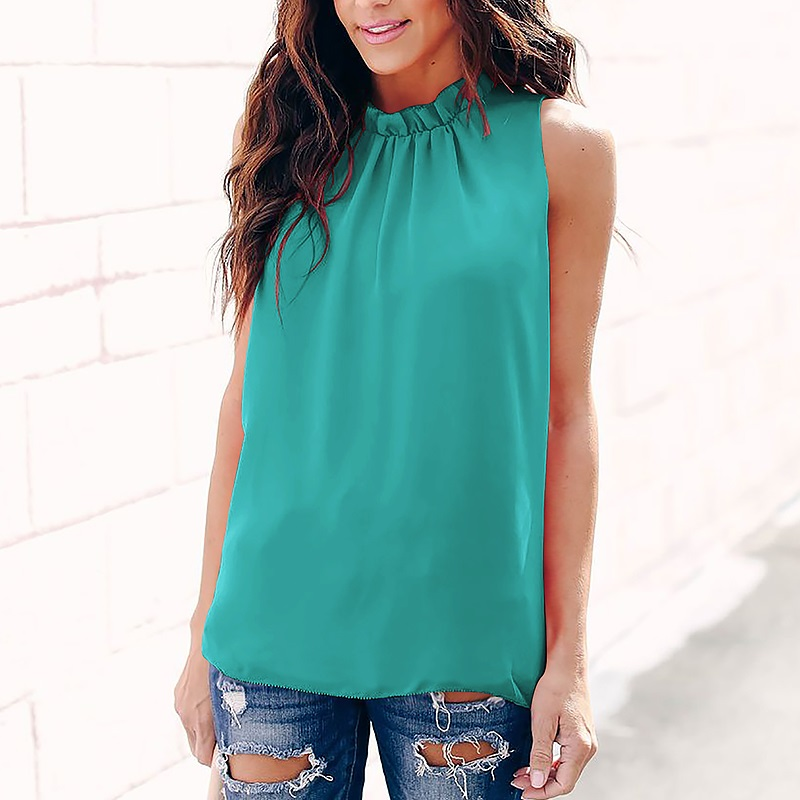 Solid Color Round Neck Chiffon Blouse Women Summer Fashion Wild Blusas Shirt Casual Loose Sleeveless Ladies Tops Shirt