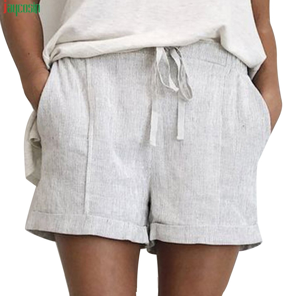 JAYCOSIN Fashion   shorts   Women 2019 Elastic Waist Summer Solid Lace Up Cotton And Linen Pockets Casual   Short   Women   shorts   Girls