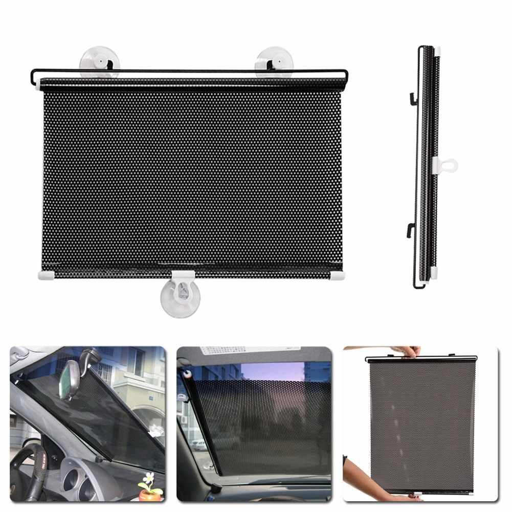 รถกระจกบังแดด Auto Retractable ด้านข้างหน้าต่าง Sun Shade ป้องกันผ้าม่านรถ Sun Block ผ้าม่าน Shades 40 ซม.* 60 ซม.