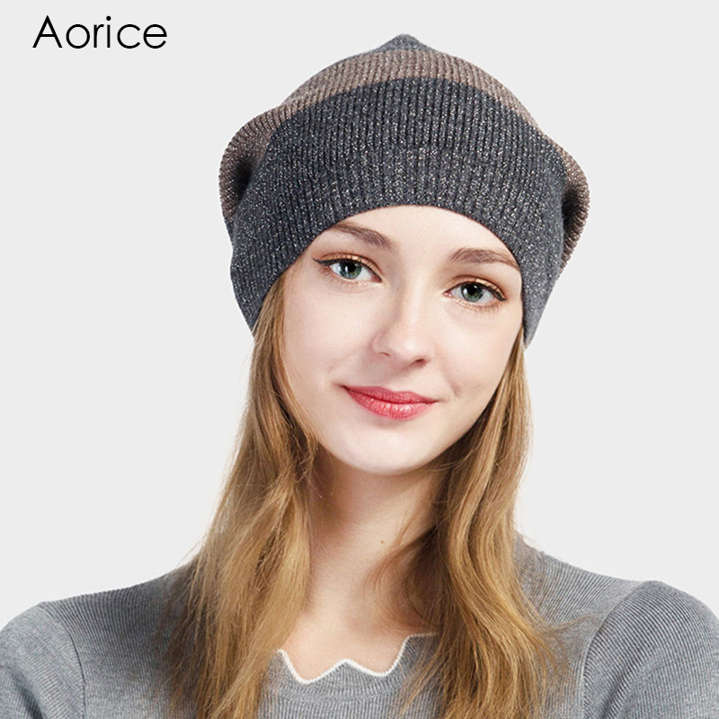 Aorice Winter Hat Solid Stripe Knitting Beanies Brand High Quality Warm Vogue Women's Men's Cap Pompom Female Causal Hats HK712