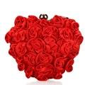 Hot Ladies Satin Clutch Floral Bridal Purses Ladies Wedding Designer Evening Bag Dinner Party Chain Bag Red bolsos mujer XA1173C