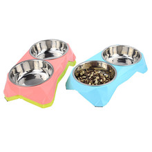 Double Food Stainless Steel Pet's Bowl
