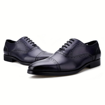 Fashion Black / Red / Brown / Blue Social Shoes Oxfords Mens Dress Shoes Genuine Leather Wedding Groom Shoes Male Business Shoes