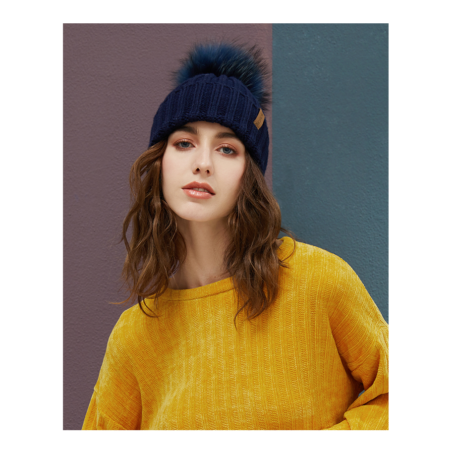 Real Raccoon Fur Pom Poms Beanies Winter Hat Female For Women Knitted Cotton Thick Cap 2018 New Fashion Warm Beanie Hot Selling (5)
