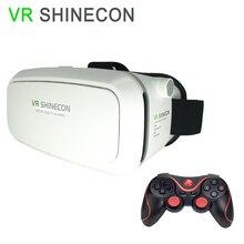 "VR SHINECON1.0ของแข็งสีขาวVRแว่นตาSuit3.5 ""-6″มาร์ทโฟนVRชุดหูฟังความเป็นจริงเสมือน+บลูทูธGamepadควบคุม"