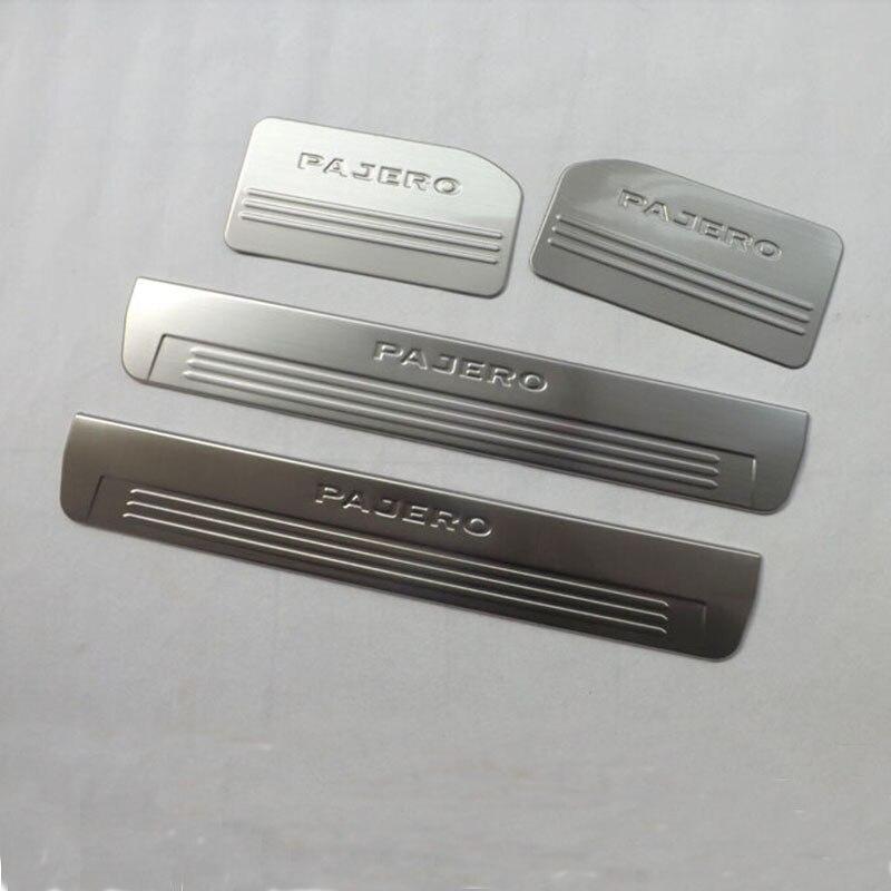 Pour Mitsubishi Pajero 2013 acier inoxydable intérieur porte seuil bande bienvenue pédale Auto voiture style autocollants accessoires 4 pièces