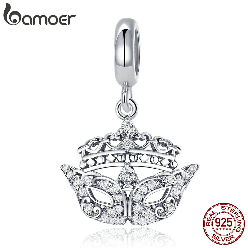 BAMOER Genuine 100% 925 Sterling Silver Gorgeous Mask Crystal Glasses Charm Fit Women Bracelet & Necklaces DIY Jewelry SCC702
