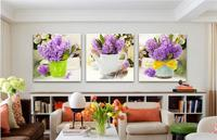 Modern Home Creative Vase Home Decor Poster Purple Lavender Flowers Canvas Painting 3 Panels Frameless Pictures