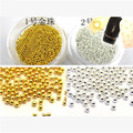 2pots gold silver mini metallic caviar nail beads for 3d nail art tips decoration manicure tools 1MM , TWE8789RE