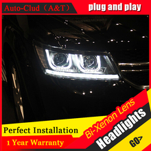Car Styling FREEMONT LED Head Lamp for FIAT FREEMONT 2009 2014 LED Headlight angel eye headlight