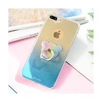 SULADA For I7 Plus Case Gradient Color Glitter Powder Soft TPU Phone Case With Finger Ring