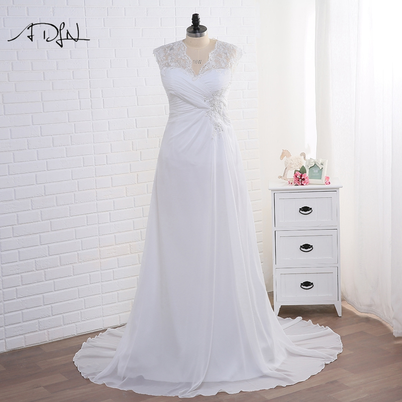 ADLN Stock Plus Size Wedding Dresses Elegant V neck White Ivory Applique Beaded Chiffon Beach Bridal