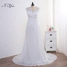 ADLN Stock Plus rozmiar suknie ślubne elegancki dekolt w serek biały/Ivory aplikacja szyfon zdobiony plażowa suknia ślubna Vestidos de Novia