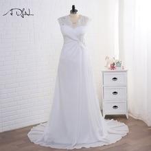 Nya 2016 Ankomst Klänning Eleganta Applique Bröllopsklänningar Chiffon Vestidos De Novia Plus Size Beach Brudklänningar