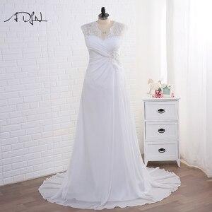 Image 1 - Adln Voorraad Plus Size Trouwjurken Elegante V hals Wit/Ivoor Applique Kralen Chiffon Strand Bruidsjurk Vestidos De Novia