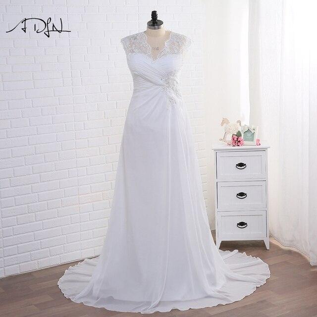 Adln Voorraad Plus Size Trouwjurken Elegante V hals Wit/Ivoor Applique Kralen Chiffon Strand Bruidsjurk Vestidos De Novia