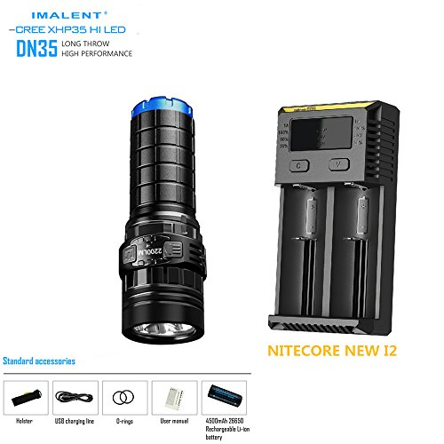 LED Torch IMALENT DN35 XHP35 HI LED max. 2200LM beam throw 596M flashlight + 26650 4500mAh battery + NITECORE NEW I2 Charger new nitecore r25 tactical flashlight 800lm xp l hi v3 led torch unmatched performance smart charging dock rechargeable battery