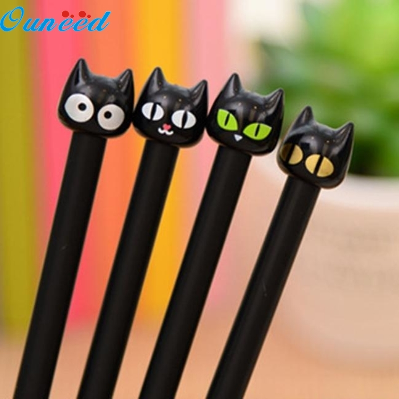 Ouneed Happy Home 4PC Cute Black Cat Gel Pen Kawaii Stationery Creative Gift School Supplies 0.5mm 6pcs lot cute floral garden gel pen kawaii stationery creative gift school supplies student gift rewarding prize 0 38mm