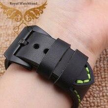 22 мм 24 мм новых людей черный матовый металлический часы пряжка гладкие натуральная кожа группы ремни