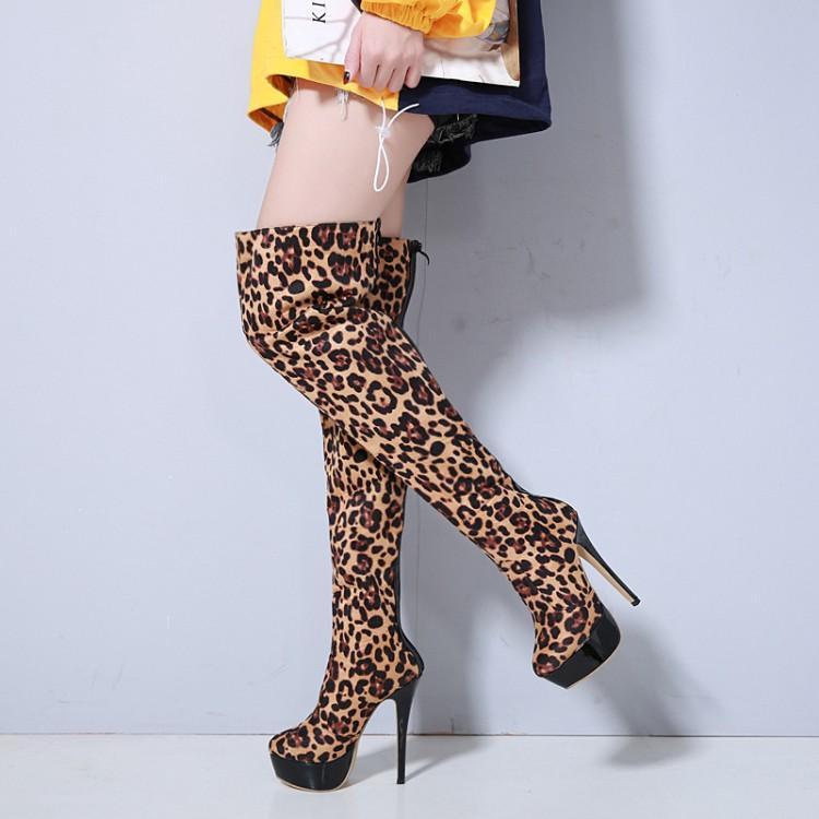 Longues Haute À Super As Retour Bottes Nouveau Mode Show Botas Femmes Bout De Flock Cuisse Rond Glissière Chaussures forme Mujer Plate Fermeture Léopard Talons 7qqxXtBH