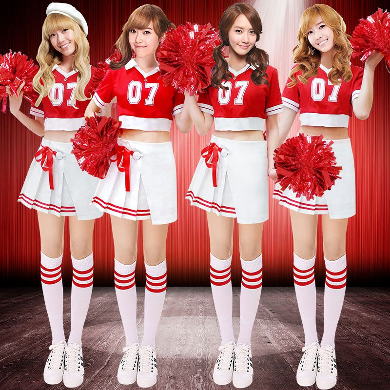 High Quality!Cheerleader Costumes Adult Uniform Adult Women's Cheers Team Red Set Costume,Free Shipping!