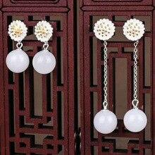 Drop Shipping Real 925 Sterling Silver Drop Earrings Ear Pin Natural Round Jade Handmade Wedding Earrings For Women недорого
