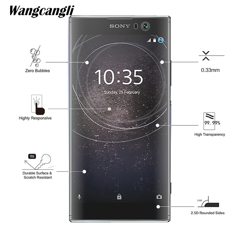 Wangcangli Tempered Glass For Sony Xa2plus Phone Protective Film 2.5D Screen Protector For Sony Xa2plus
