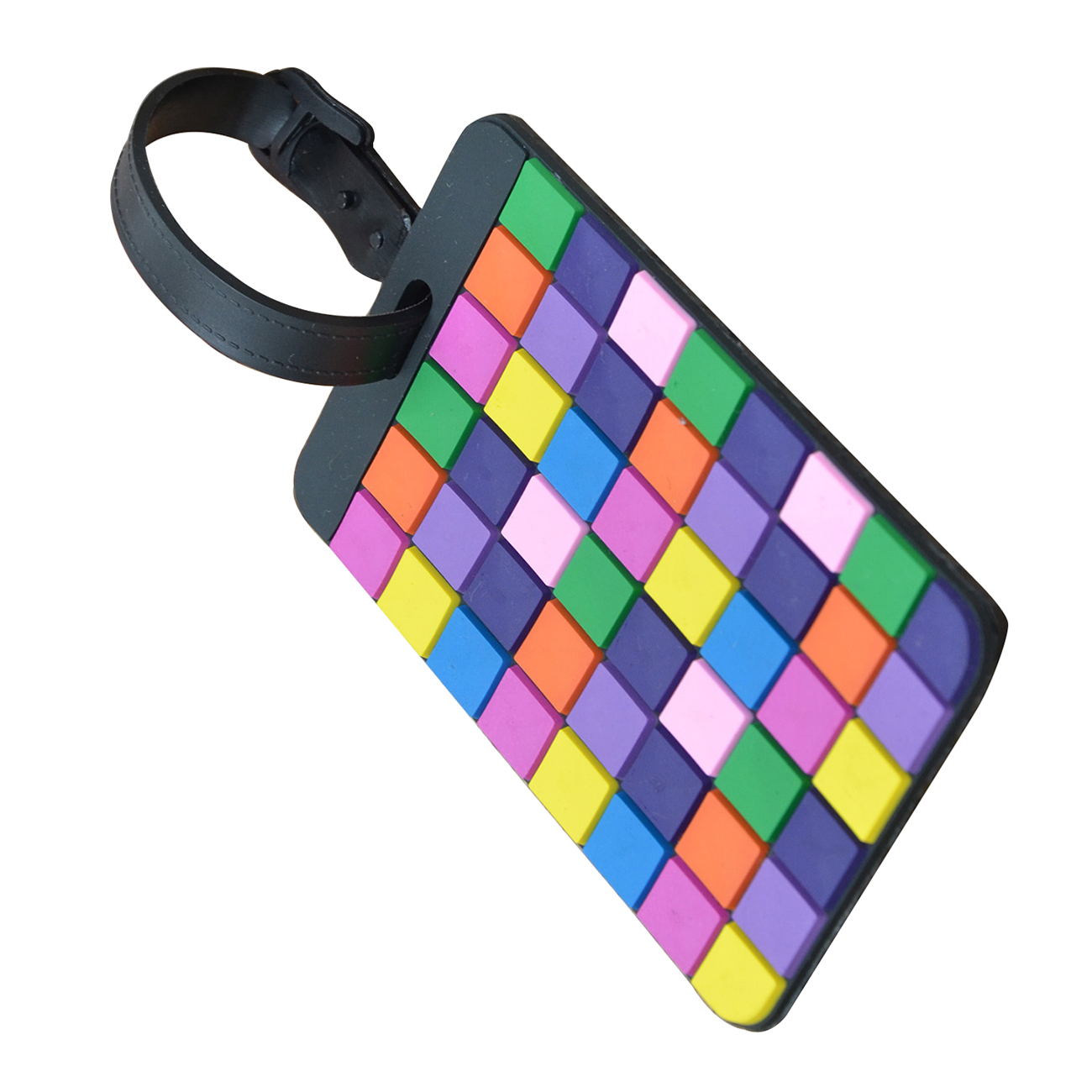5pcs Boutique Portable Colorful Plaid Secure Travel Suitcase ID Luggage Handbag Large Tag Label (Yellow+Purple)