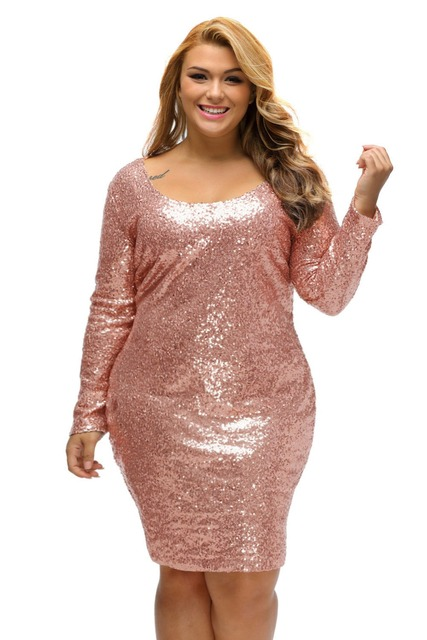 Summer Autumn Plus Size Dress For Women Glitter Sequined Long Sleeve Solid  Champagne Dresses Party Office Lentejuelas Vestido 4000ea26834f