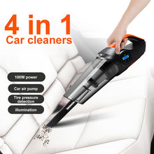 multi function portable car vacuum cleaner wet pressure pneumatic lighting tire dry super suction air compressor inflatable pump Portable Vacuum Cleaner Auto Vacuum Cleaner Air Inflatable Pump Tire Pressure Tyre Compressor Power Cord Wet/Dry 4in1