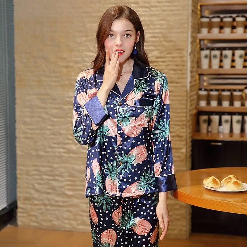 Spring or Autumn 2 Pcs Silk Pajama Pant Set 2018 New Fashion Ladies Sleepwear  Pineapple Print Night Shirt Female Pajama Sets-in Pajama Sets from Women s  ... f750fde88