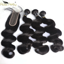 лучшая цена Ross Pretty  Body Wave Bundles With Kim K Closure Human Hair Lace With Natural Remy Peruvian Color 1b