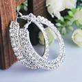 Shiny Elegant Silver Hoop Earrings Party Earrings for Women Two Row Crystal Beaded Wedding Hoop Earrings Women Fashion Jewelry