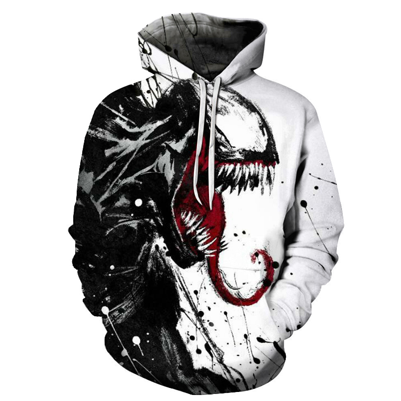 2019 Hot Film Venom Men's Hoodie Spring And Autumn Hot 3D Marvel Series Men And Women Casual Plus Size Hooded Sweatshirt