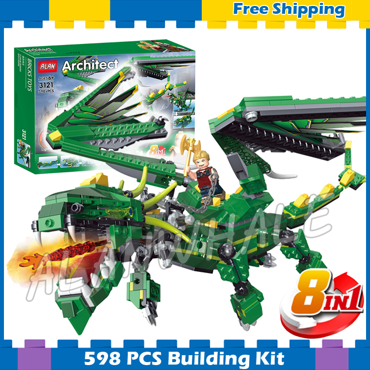 598pcs 3in1 Creator Green Dragon incredible Mythical Creatures 3121 DIY Model Building Blocks Gifts sets Compatible with Lego