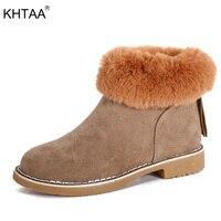 KHTAA Women Winter Ankle Boots Zip Ankle Snow Boots 2017 Female Fashion Warm Plush Fur Low