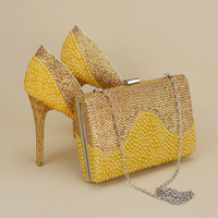 2017 Newest Unique Designer Gold Pearls With Rhinestone Shoes With Matching Bag Platforms Women Stiletto Bridal