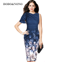 DODO NONO Vfemage Womens Elegant Ruffle Sleeve Ruched Casual Party Work Fitted Stretch Slim Wiggle Pencil