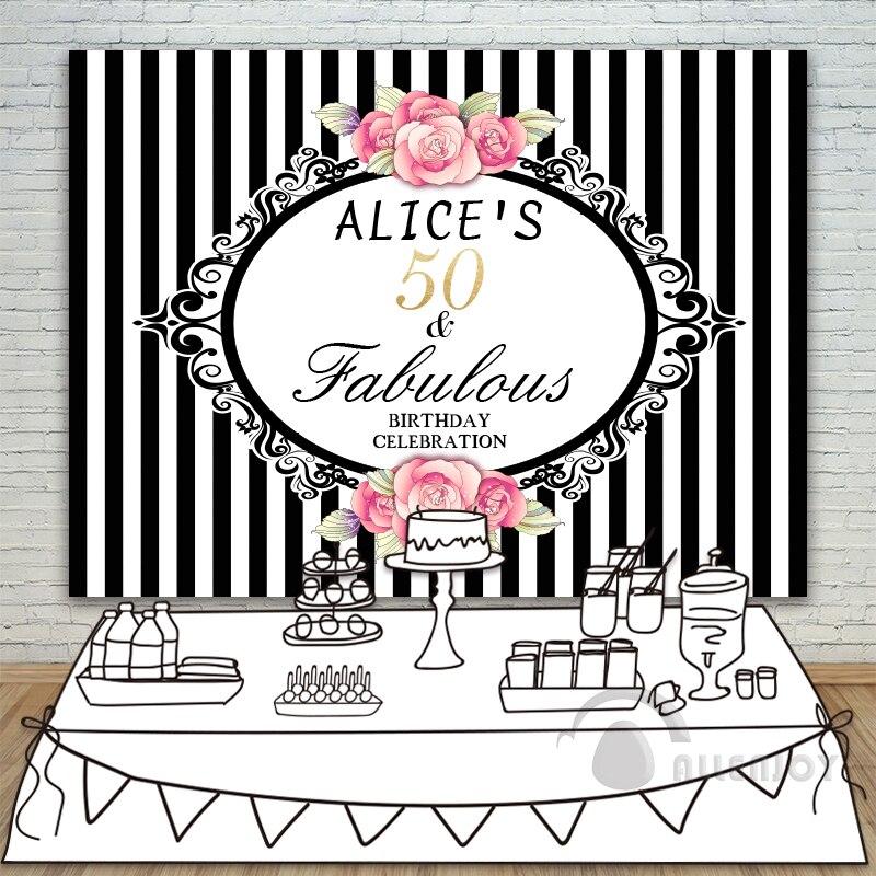 Filles anniversaire décors bébé douche fond rayures verticales Rose Invitation fête Allenjoy personnaliser