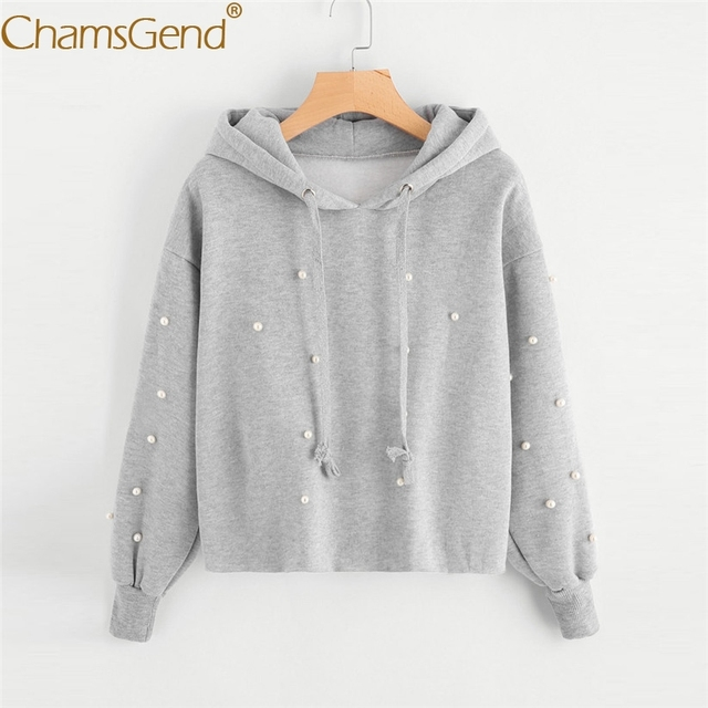 1c0c3484af90a0 Chamsgend Hoodies Women Girls Casual Solid Gray Hoodie Crop Top Blouse Tops  Sweatshirt With Pearl Decals 71226