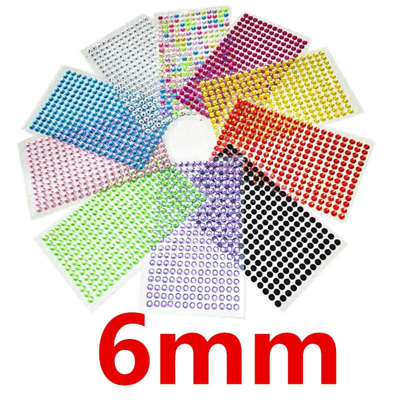 260Pcs /set 6mm Acrylic Crystal Sticker Decal Rhinestone Wall Smooth surface decoration Stickers diamond Tattoo