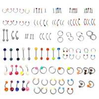 2019 Amazon cross border sells 110 boxes of 24 types of tongue nail nose ring navel nail set body piercing accessories BPJ 13