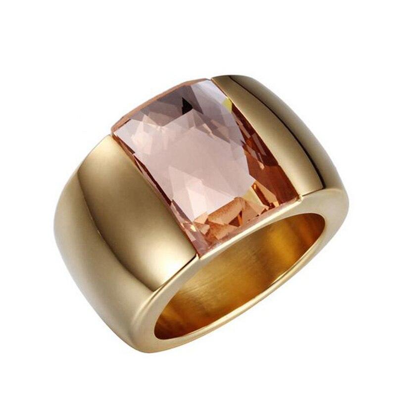 Frauen Mode Edelstahl Ring Qualität Österreichischen Kristall Blau Grün Rot Stein Ring Weiblichen Titan Gold Hochzeit Ring Band