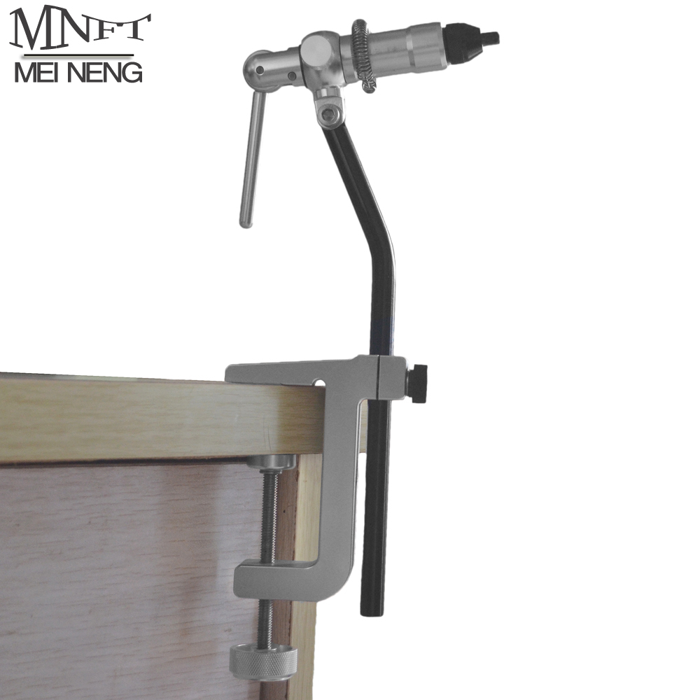 MNFT 1Set Portable Desk Clap Fly Tying Vise Rotary Head Stainless Anodized Aluminum Construction With Rotary