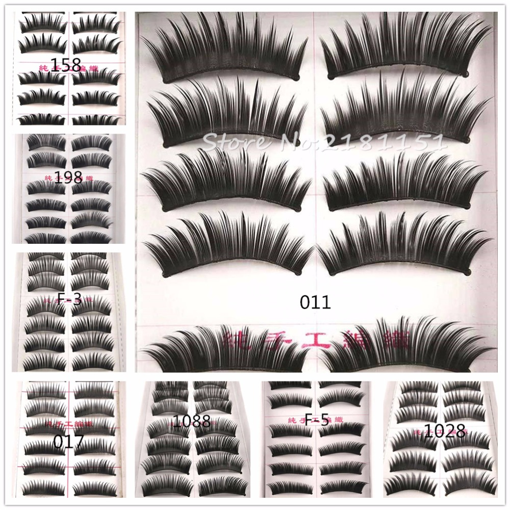 8 Styles 10 Pairs/Set Thick Black False Eyelashes Hair Soft Fake Eye Lashes Human Hair Lash Makeup Tools